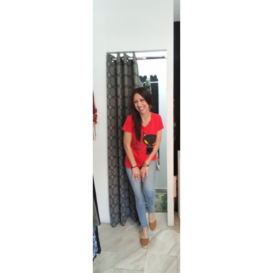 Red blouse with stamp