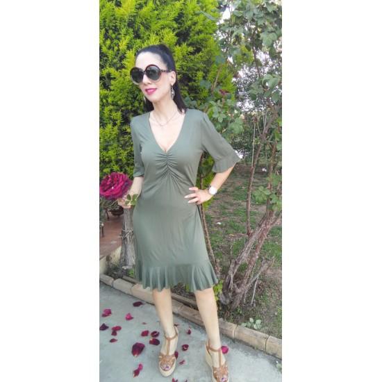 Φόρεμα βισκόζη χακί Garantie