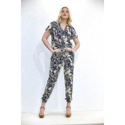 Blue trouser with flowers